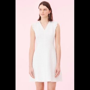 Rebecca Taylor Tweed V-Neck Dress White Snow